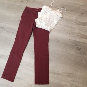 lands' end mid rise slim jeans burgundy 4
